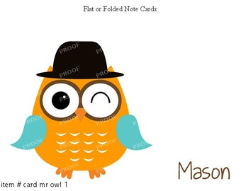 Boy Owl Top Hat Note Cards Set of 10 personalized flat or folded cards