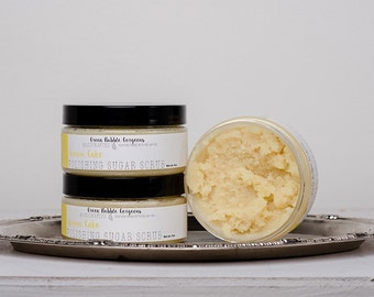 Natural Sugar Scrub, Lemon Cake, with Organic Shea Butter,  8 oz.by Green Bubble Gorgeous on etsy