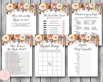 Autumn Fall Bridal Shower Games Package, Instant Download, 6 Games Printable, Game Download, Bridal Shower Activities TH40