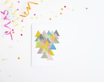Abstract Mountain Card, Blank Greetings Card - French Alps