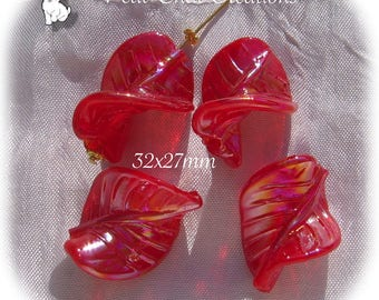 LOT 4 TWIST shiny red 32mm x 27mm LAMPWORK glass leaf beads * L307