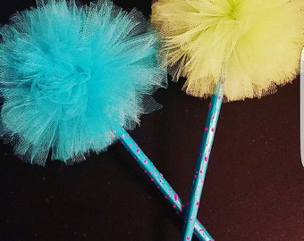 2 pencils with tulle pom pom toppers (turquoise and lime green)