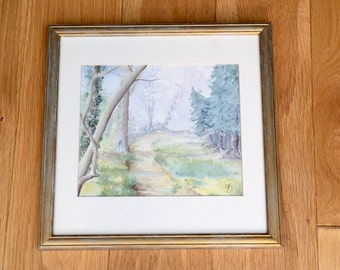 English Country Woodland Framed Painting Signed CB Capherine Ruml Beggs Original Art Watercolor Wall Hanging Home Decor