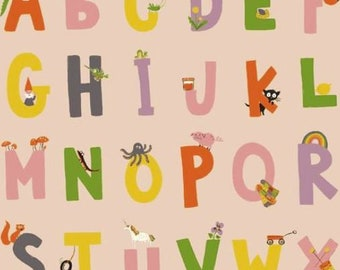 Windham - Kinder by Heather Ross - Alphabet - Pink
