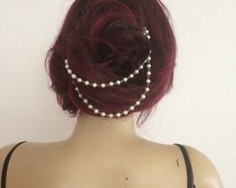 Wedding headpiece, Bridal hair accessory, Pearl headpiece, Wedding hair chain, Bridal hair chain