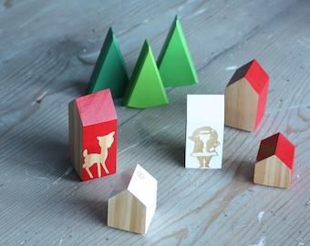 Seasonal * Happy Little Neighborhood - Wood Block Houses - Christmas Santa Reindeer Snowflake - Red and White - Natural