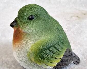 Hand painted green bird statue garden yard patio summer decor