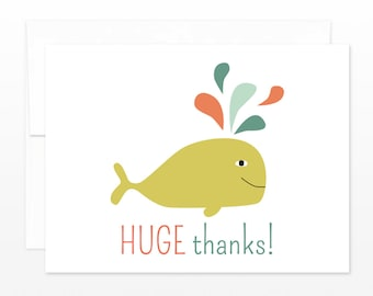 Funny Thank You Card - Thanks Whale Greeting Card - Funny Thank You Card, Card for Friend, Card for Your Help, Huge Thanks, Nautical Thanks