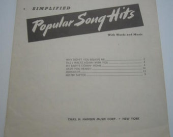 Popular Song Hits Music for Piano No 16  1952