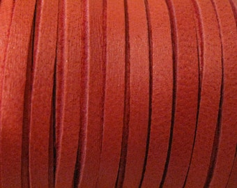 Red Deerskin Lace Leather Cord 1/8 Inch 2 yards for Macrame Knotting Jewelry
