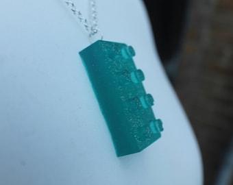 Handmade - Blue Glitter LEGO brick necklace