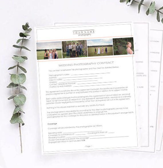 Wedding Photography Contract Wedding Contract Photography