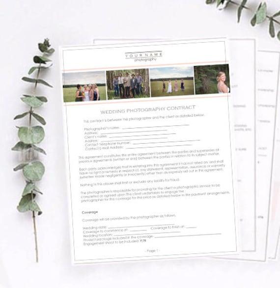 Wedding Photography Contract Wedding Contract Photography