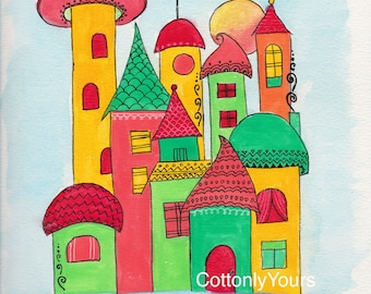 Watercolor Print -Whimsy House - Green and Yellow