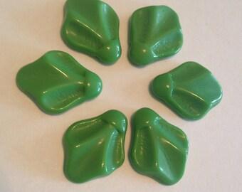 Six (6) Fabulous Art Deco Czech Glass Nile Green Leaf ,Molded, Pressed, Side Top Hole, 21mm x 17mm