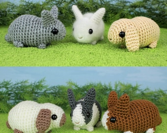 PDF Baby Bunnies 1 & 2 - six amigurumi bunny rabbit CROCHET PATTERNS