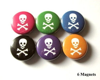 Pirate skulls crossbones refrigerator MAGNETS pastel goth fridge stocking stuffer party favor funky flair pins novelty geekery home kitchen