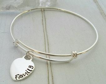 Adjustable Bangle Bracelet, Sterling Silver Bangle Bracelet, Expandable Bracelet, Custom Made Charm Bracelet, Personalized Adjustable Bangle