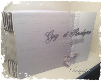 diamond wedding or Elegant grey and white gold wedding guest book or album