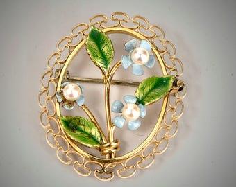 Krementiz 14k enameled flowers brooch with pearls