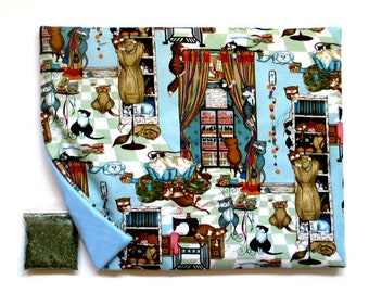 Catnip Mat and Catnip Cats in the Sewing Room Refillable Reversible