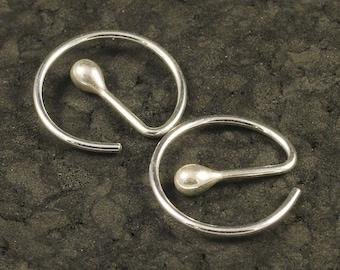 Small Silver Hoops * Sleeper Hoop Earrings *  Men's Hoops * 24 Hour Wear Silver Earrings  A MetalRocks Original Modern Sheek READY TO SHIP