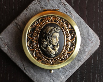Sugar skull compact mirror, gothic mirror, day of the dead, skeleton cameo mirror, bronze compact, unique holiday gift ideas