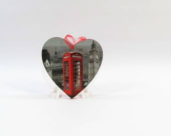 Heart shape wall deco wood phone booth
