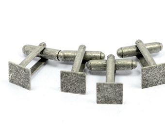 20 Pieces  Antique Silver  ( 10 Pair) 9x9 mm Square Pad Blanks Men Cufflink