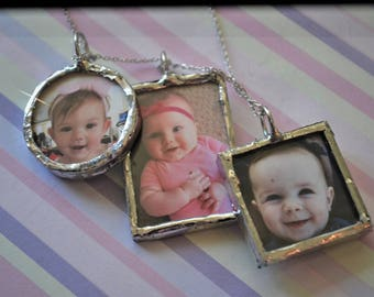 Silver Soldered Charms, Soldered Photo Charm Pendant Necklace, Wedding Charms, Hand Stamped Tags, Sterling Silver Photo Charm Keepsake