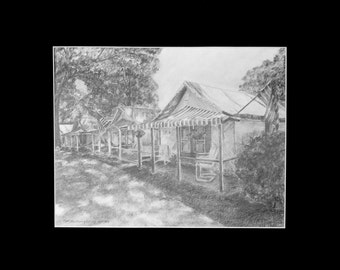 Original Drawing Ocean Grove New Jersey Pencil Drawings