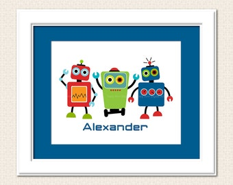 Robot Trio DIY personalised Printable Art -  8 x 10, Nursery Art, Robotics, Wall Art