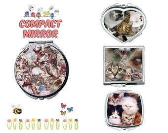 Cat collage compact mirror, makeup mirror, cosmetic mirror, portable mirror, double sided compact makeup mirror, purse mirror