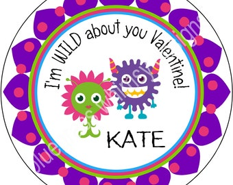 "2.5"" Round Sticker for Goodie Bag- Valentine Monster, Wild About You"
