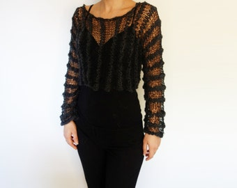 Cropped Top Knitting PATTERN - Black Magic Cropped Top/Chunky&Lace Sweater/Shoulders Loose Knit Coverup/Thick and Thin