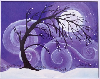 Stillness Speaks - Winter - Snow  - Tree - Art Print - 11x14 with white matte included