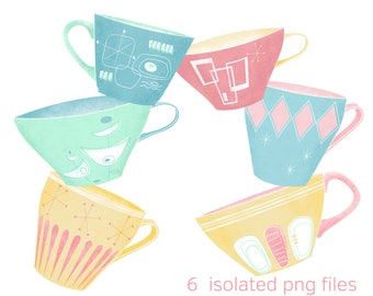 Six Midcentury Atomic Coffee Cups Graphics: Instant Digital Download Personal and Commercial Use