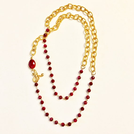 """Ruby and Gold Link Chain Necklace, Ruby Bezel Connector, Double Wrap Necklace, 22K Gold Plated Toggle Clasp, 36"""" Long"""