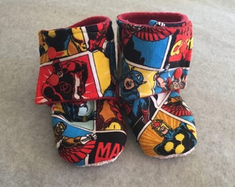 Gender Neutral Marvel Characters Stay On Baby Booties