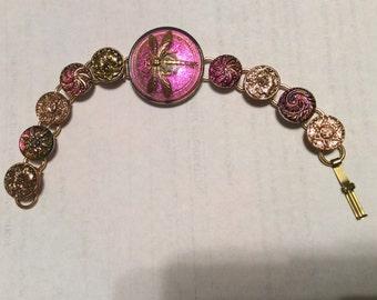 BUTTON DRAGONFLY BRACELT Irridescent HandPainted Glass Pinks Golds Geens
