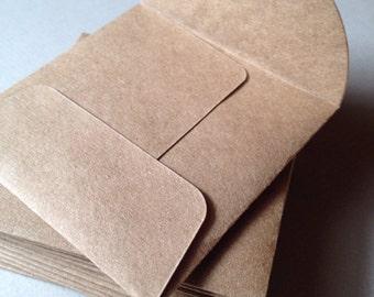 "50 Kraft Envelopes--Small Square Envelopes-Size 3"" x 3""--Recycled Kraft- heavyweight brown Kraft"