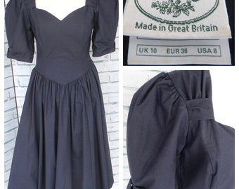 Vintage 1980s Laura Ashley Dress Sz 10 UK Navy Blue Cotton Midi / 8 USA