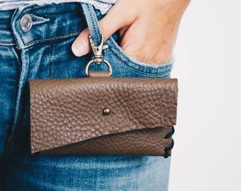 Key Chain Pouch, Leather Keychain Wallet, Key Chain Credit Card Wallet, Womans wallet, Leather Hip bag, Womens edc