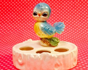 Norcrest Anthropomorphic Pink Bird Lipstick Holder made in Japan circa 1950s