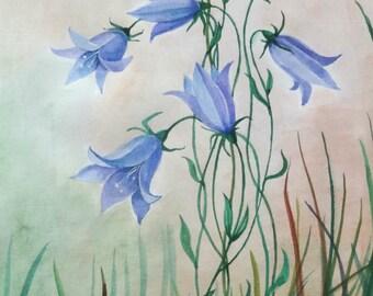 Bluebell, Original painting, blue flower, blue flowers, bluebell flowers, flower painting, meadow flowers, small flowers