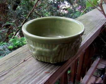 VINTAGE DOG BOWL, green pottery dog dish, embossed dogs
