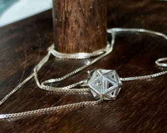 Sterling silver Icosahedron (D20) hollow pendant necklace