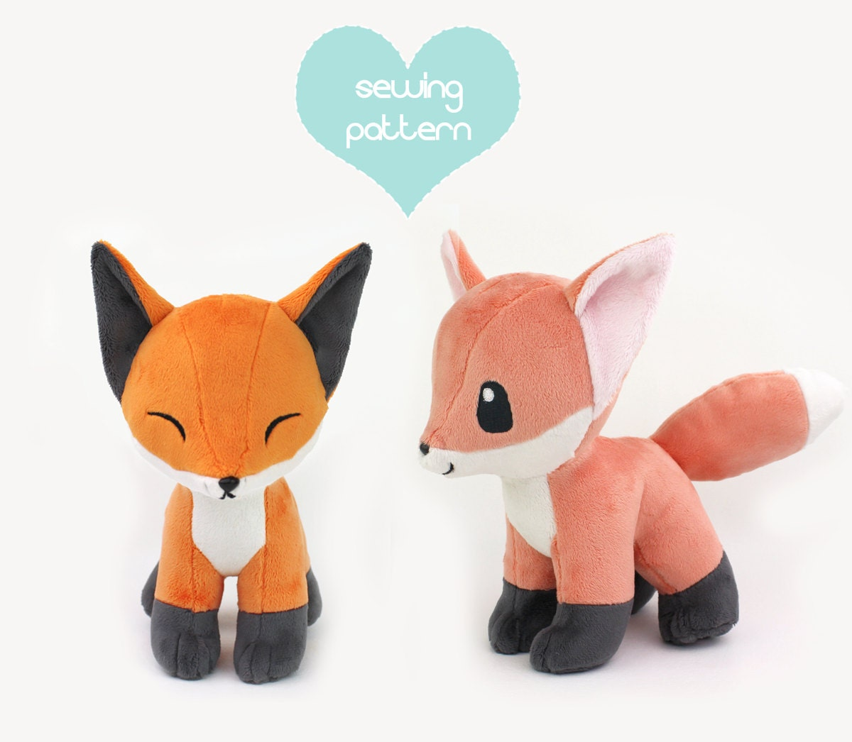 Pdf sewing pattern baby fox stuffed animal with video for Sewing templates for stuffed animals
