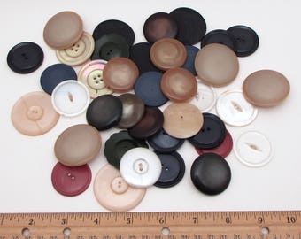 Large Vintage Buttons - lot of Buttons - assorted big round Buttons - coat buttons - shank and flat - grab bag - destash