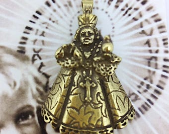 Infant Jesus of Prague Pendant Necklace in Brass